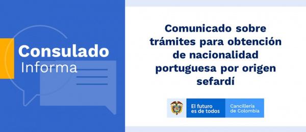Comunicado sobre trámites para obtención de nacionalidad portuguesa