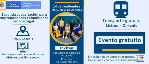 Consulado de Colombia en Lisboa y el programa Colombia Nos Une realizarán la capacitación para emprendedores colombianos el 14 de septiembre de 2019