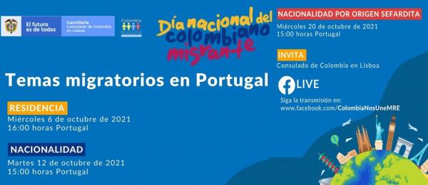 El Consulado de Colombia en Lisboa invita al ciclo de charlas virtuales sobre temas migratorios en Portugal, los días 6, 12 y 20 de octubre