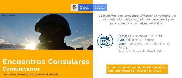 El Encuentro Consular Comunitario Consulado organizado por el Consulado de Colombia en Lisboa se realizará el 19 de septiembre de 2019
