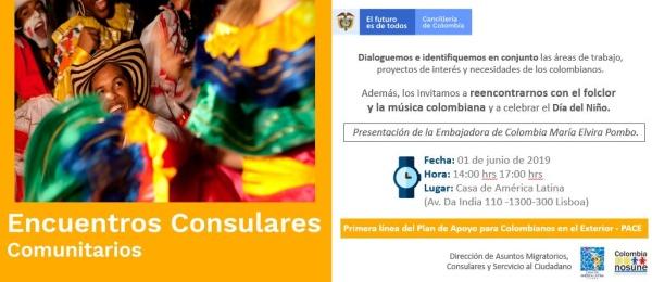 La Embajada de Colombia en Portugal y el Consulado en Lisboa invitan al Encuentro Consular Comunitario que se realizará el 1 de junio